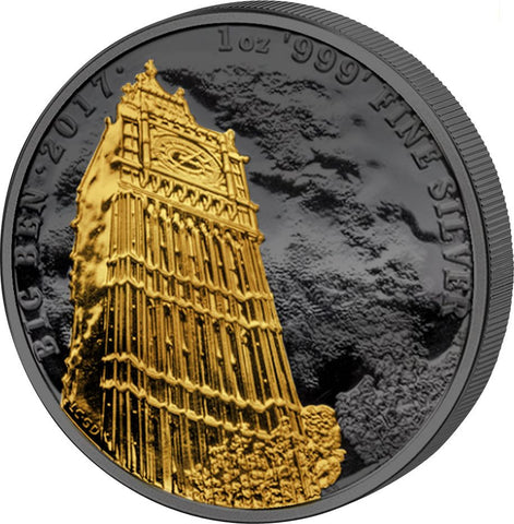 2017 Great Britain 1 Ounce Golden Enigma Big Ben Ruthenium & Gold Silver Coin Rev - Art in Coins