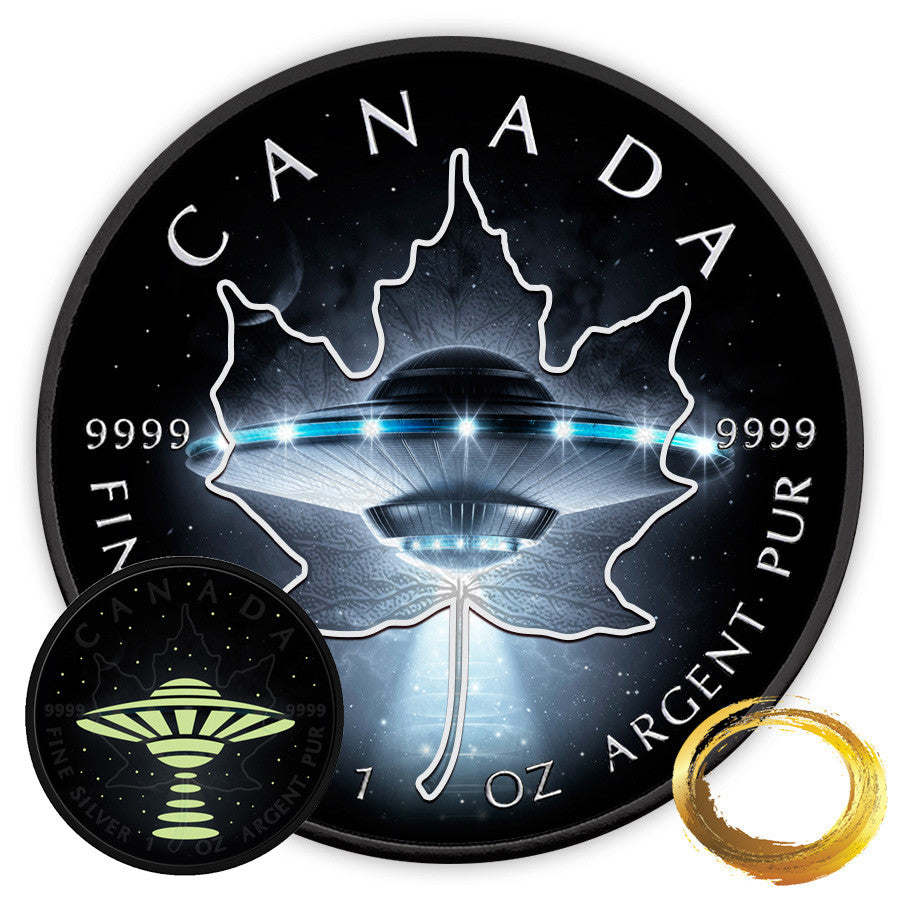 2017 RCM 1 Ounce Glow in the Dark UFO Maple Leaf Silver Coin Set - Art in Coins