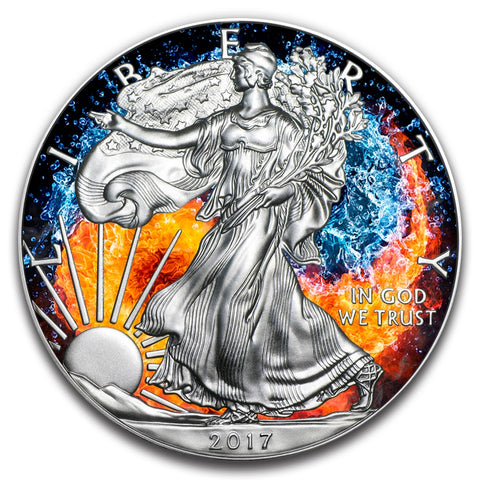 2017 1 Ounce Walking Liberty Fire and Water Yin Yang Colored Ruthenium Silver Coin