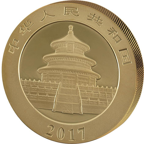 2017 30 Gram Chinese Panda Double Platinum Edition .999 Gold Coin Obv - Art in Coins