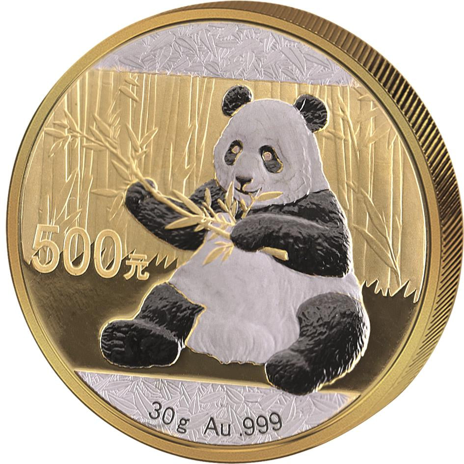 2017 30 Gram Chinese Panda Double Platinum Edition .999 Gold Coin - Art in Coins