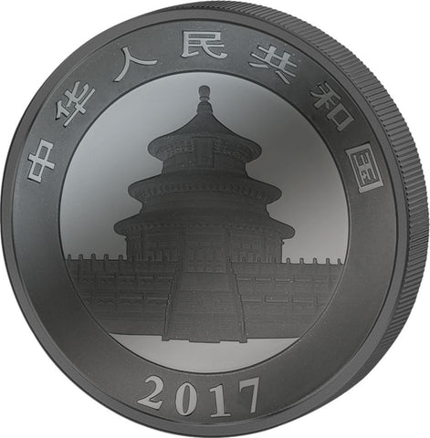 2017 30 Gram Deep Frozen Chinese Panda Ruthenium and Platinum Silver Coin Obv - Art in Coins