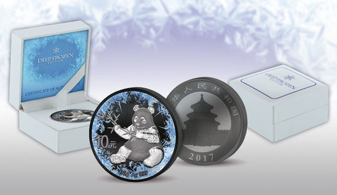 2017 30 Gram Deep Frozen Chinese Panda Ruthenium and Platinum Silver Coin Set - Art in Coins