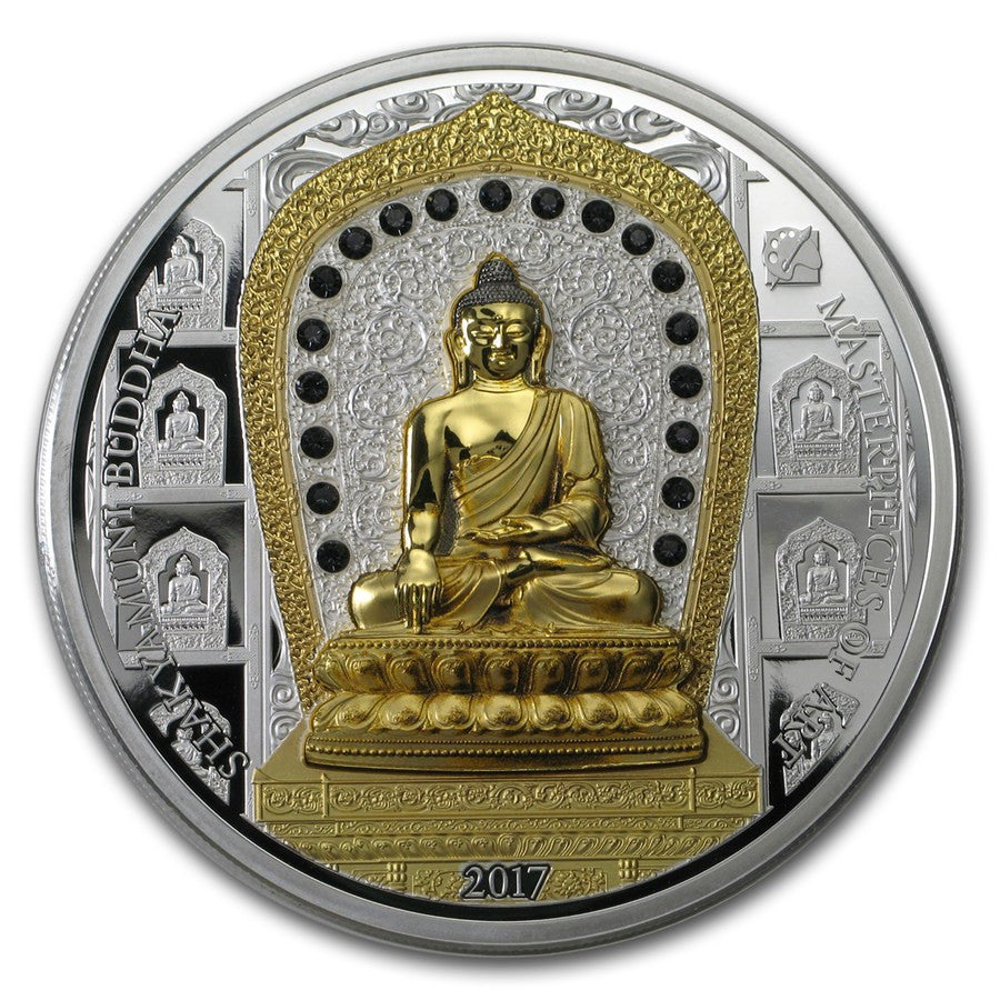 2017 Cook Islands 3 Ounce Silver & 1/4 Ounce Gold Shakyamuni Buddha Coin Set - Art in Coins