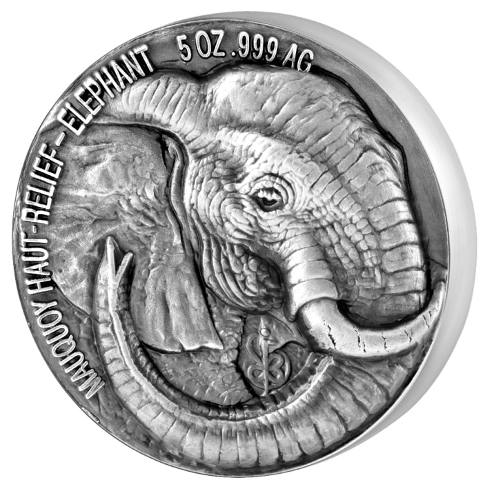 2017 Ivory Coast 5 Ounce Big 5 Elephant High Relief Silver Proof Coin - Art in Coins