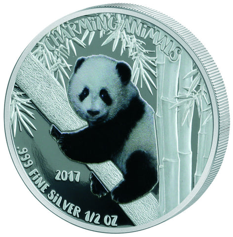 2017 Benin 1/2 Ounce Charming Animals Panda Colored Silver Coin - Art in Coins