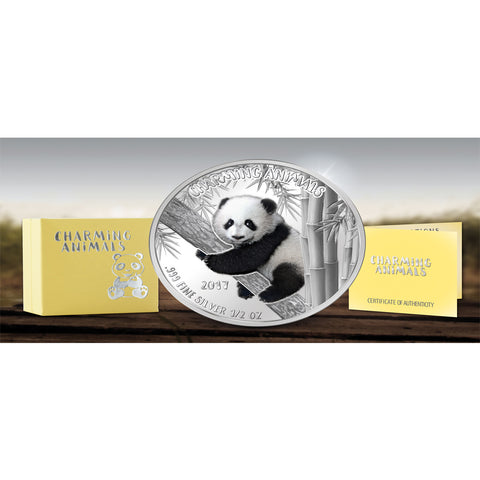 2017 Benin 1/2 Ounce Charming Animals Panda Colored Silver Coin Set - Art in Coins
