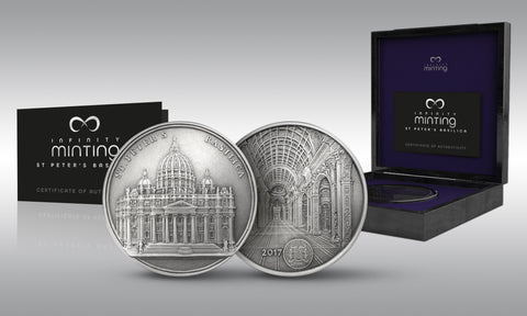 2017 Benin 100 Gram St. Peter's Basilica Infinity Minting High Relief Silver Coin Set