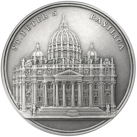 2017 Benin 100 Gram St. Peter's Basilica High Relief Silver Coin - Art in Coins