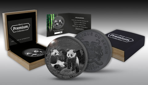 2017 Benin 5 Ounce Precious Nature Giant Panda Rhodium and Palladium Silver Coin Set