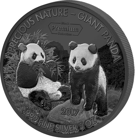 2017 Benin 5 Ounce Precious Nature Giant Panda Rhodium and Palladium Silver Coin Reverse - Art in Coins