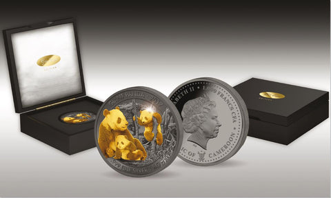2017 Cameroon 1 Kilogram Giant Pandas Golden Enigma Premium Gold and Ruthenium Silver Coin Set - Art in Coins