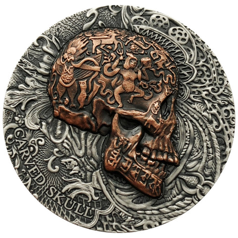 2017 Cameroon 1 Ounce Carved Skull High Relief Silver Proof Coin - Art in Coins