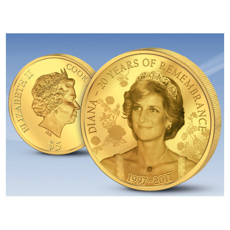 2017 Cook Islands 1/2 Gram .9999 Gold Princess Diana 20 Years Remembrance Coin - Art in Coins
