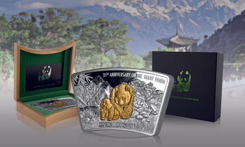 2017 Fiji 1 Kilogram 35th Anniversary of the Giant Panda Fan Shaped Gold Plated Silver Coin