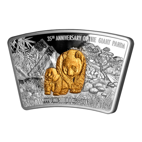 2017 Fiji 1 Kilogram 35th Anniversary of the Giant Panda Fan Shaped Silver Coin - Art in Coins