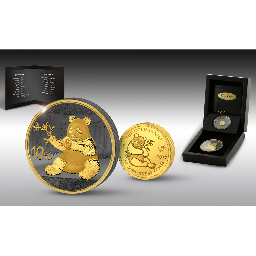 2017 Golden Enigma Panda Jubilee 30 Gram Silver and 1 Gram Piedfort Gold Commemorative Coin Set - Art in Coins
