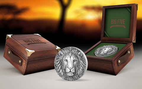 2017 Ivory Coast 1 Kilogram Big 5 Lion Ultra High Relief and Antique Finish Silver Proof Coin Set - Art in Coins