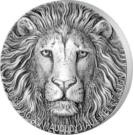 2017 Ivory Coast 1 Kilogram Big 5 Lion Ultra High Relief and Antique Finish Silver Proof Coin -  Art in Coins