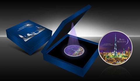2017 Ivory Coast 2 Ounce Ultraviolet Landmarks At Night Burj Khalifa Silver Coin Set