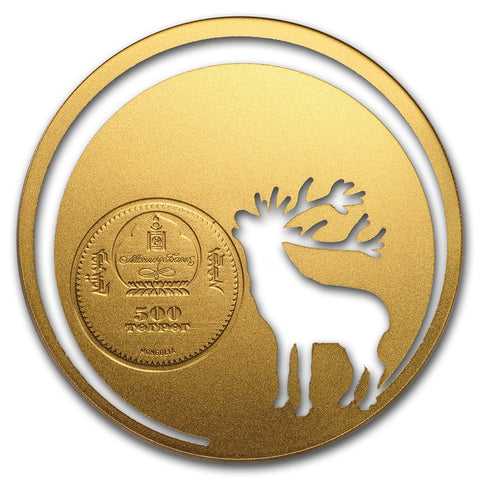 2017 Mongolia 1/2 Ounce Mongolian Nature Roaring Deer Gold Plated Silver Coin