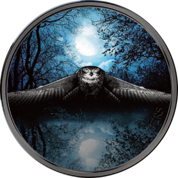 2017 Ivory Coast 3 Ounce Night Hunters Owl Colored Silver Coin