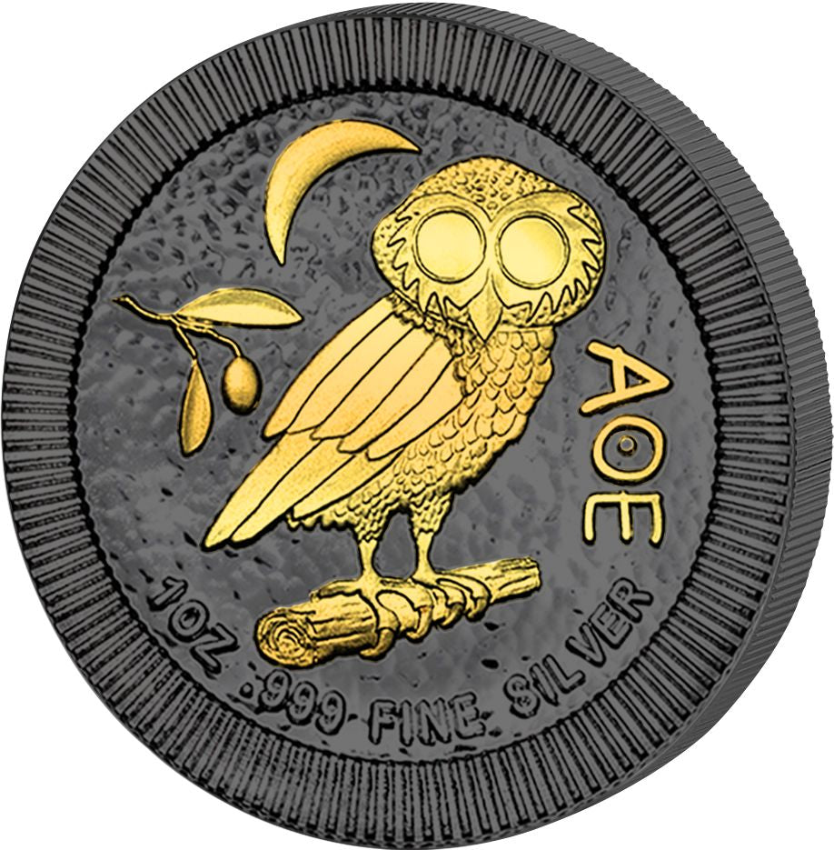 2017 Niue 1 Ounce Golden Enigma Athenian Owl Ruthenium & Gold Silver Coin Rev - Art in Coins