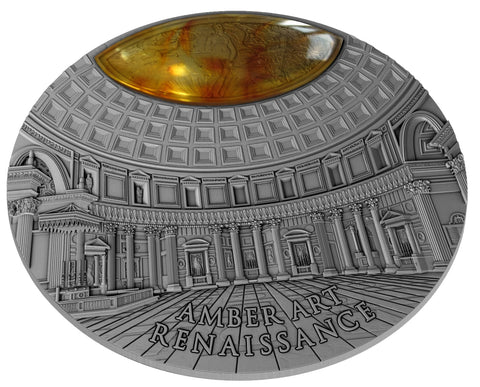 2017 Niue 2 Ounce Amber Art Renaissance High Relief Silver Coin w Antique Finish