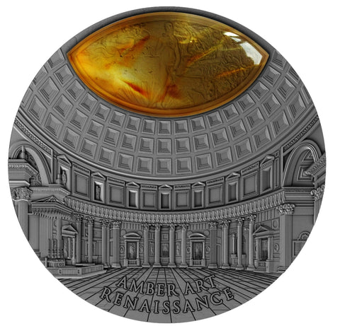 2017 Niue 2 Ounce Amber Art Renaissance High Relief Silver Coin