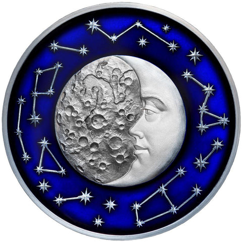2017 Niue 2 Ounce Celestial Bodies Moon Colored & Enameled Silver Coin with Antique Finish - Art in Coins