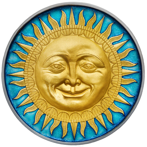 2017 Niue 2 Ounce Celestial Bodies Sun Colored & Enameled Silver Coin with Antique Finish - Art in Coins
