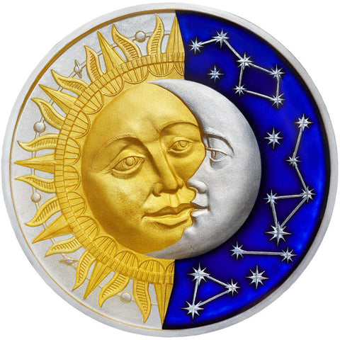 2017 Niue 2 Ounce Celestial Bodies Sun and Moon Colored & Enameled Silver Coin with Antique Finish - Art in Coins