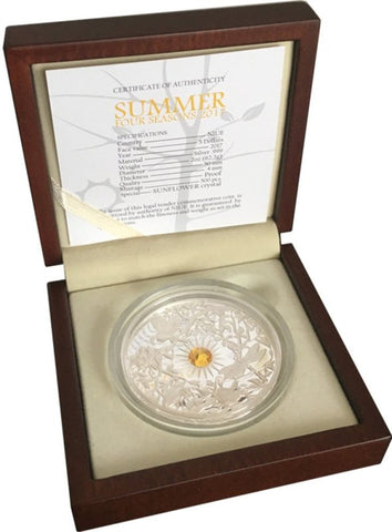 2017 Niue 2 Ounce Four Seasons Summer Crystal Silver Proof Coin Box - Art in Coins
