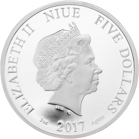 2017 Niue 2 Ounce Four Seasons Summer Crystal Silver Proof Coin Obv - Art in Coins