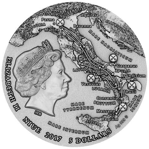 2017 Niue 2 Ounce Great Commanders Spartacus Slave Revolt High Relief Silver Coin Obv