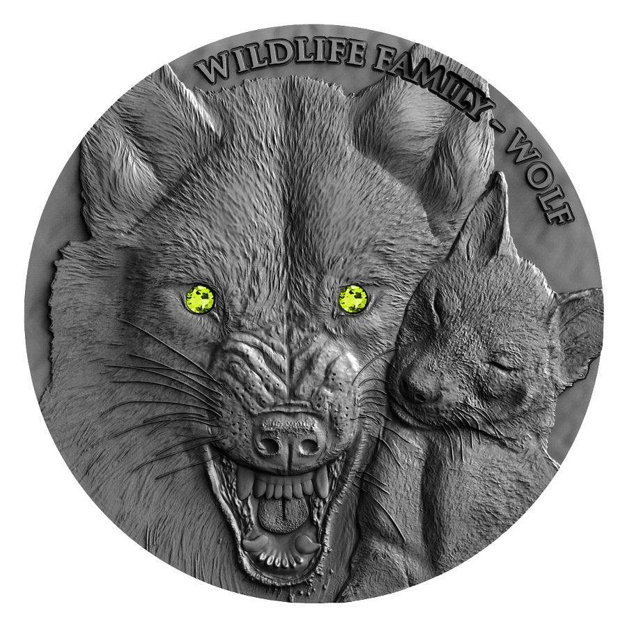 2017 Niue 1 Ounce Wildlife Family Wolf High Relief Silver Coin