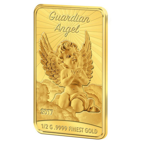 2017 Solomon Islands 1/2 Gram Guardian Angel .9999 Proof-like Gold Coin Bar - Art in Coins