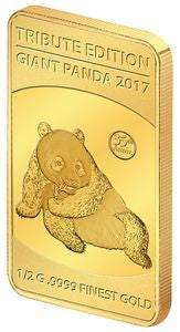 2017 Solomon Islands 1/2 Gram .9999 Gold Giant Tribute 2015 Panda - Art in Coins