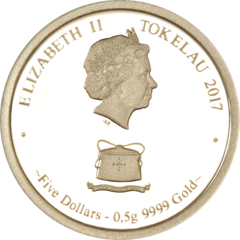 2017 Tokelau 1/2 Gram Poseidon .9999 Gold Proof Coin Obv