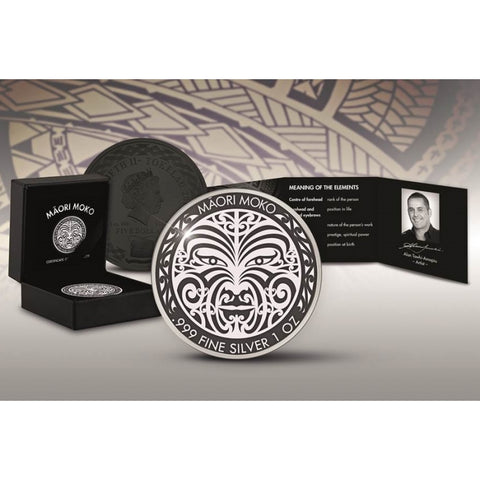 2017 Tokelau 1 Ounce Maori Moko Art Ruthenium Silver Proof Coin Set - Art in Coins