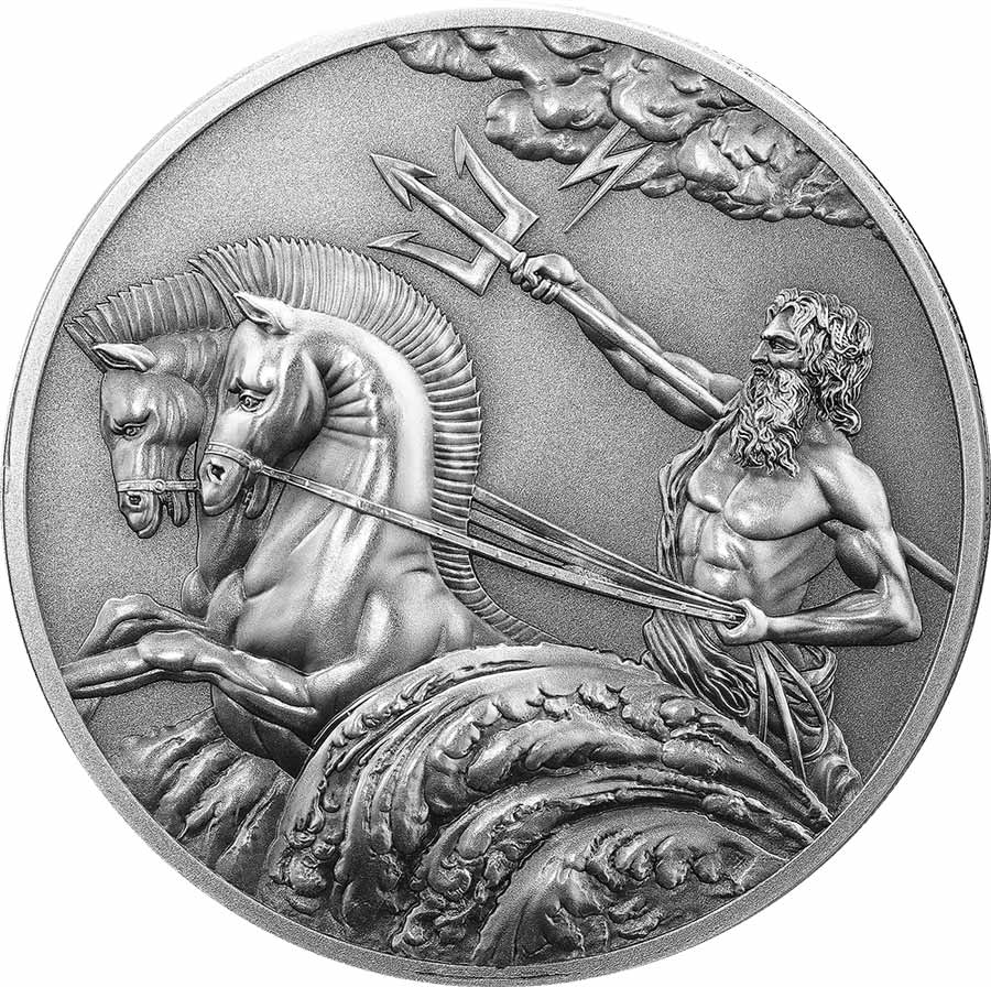 2017 Tokelau 1 Ounce Poseidon Antique Finish Silver Coin - Art in Coins