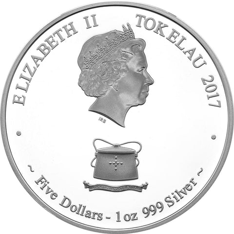 2017 Tokelau 1 Ounce Poseidon Silver Proof Coin Obv - Art in Coins