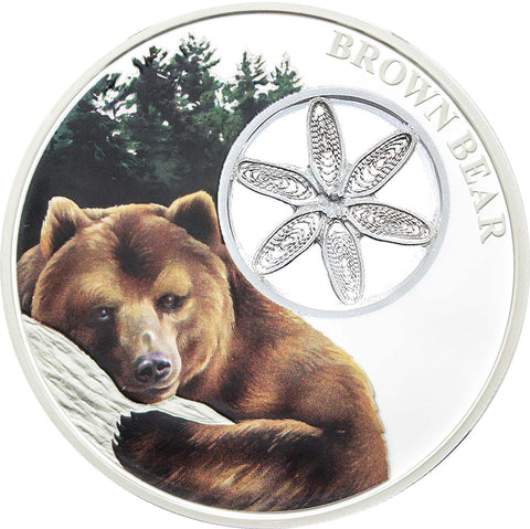 2016 Tokelau 1 Ounce Filigree Snowflake Brown Bear Colored Proof Silver Coin - Art in Coins