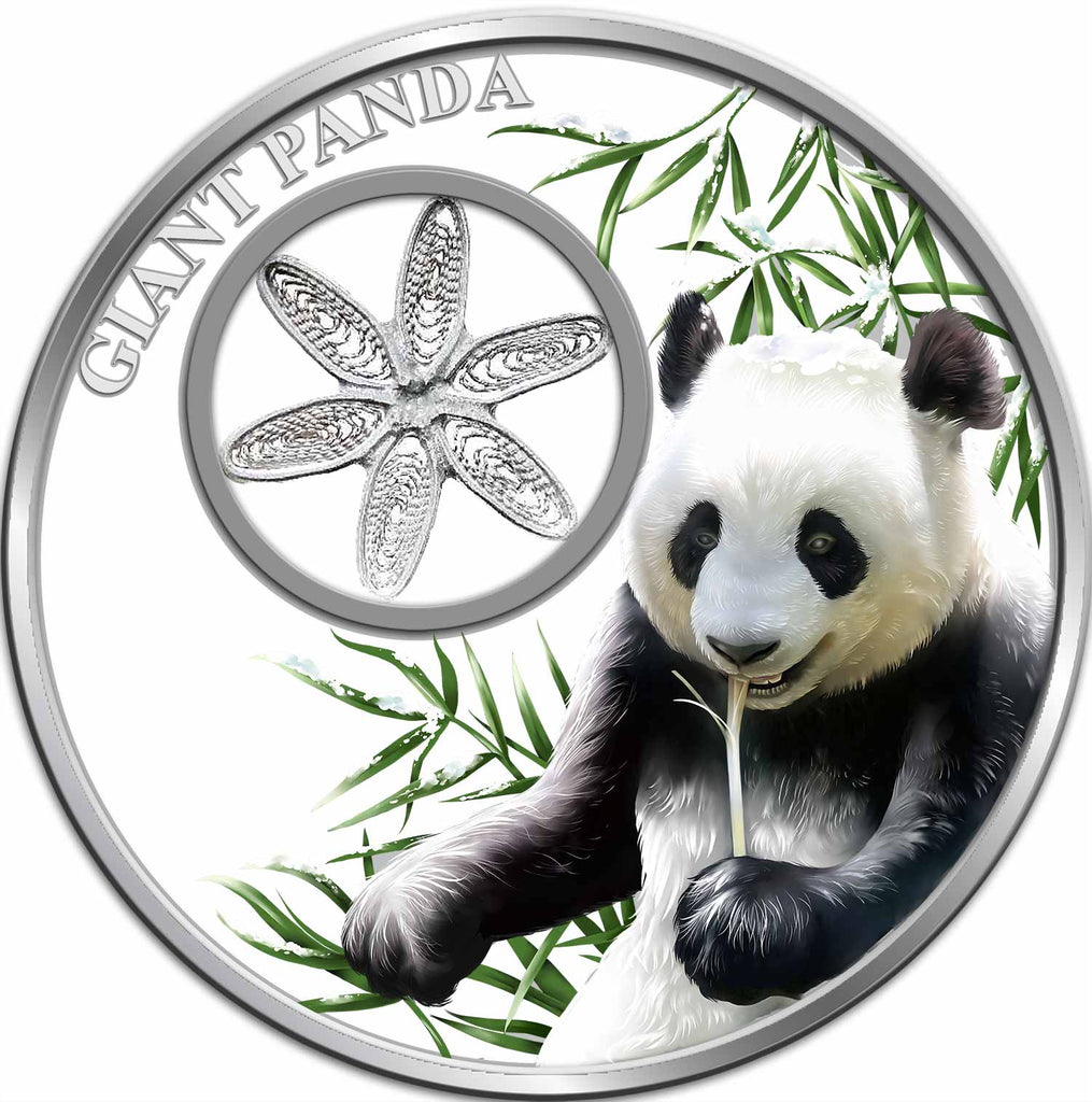 2017 Tokelau 1 Ounce Filigree Snowflake Giant Panda Colored Proof Silver Coin - Art in Coins