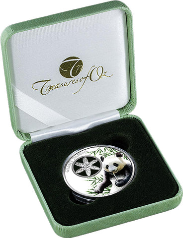 2017 Tokelau 1 Ounce Filigree Snowflake Giant Panda Colored Proof Silver Coin Box - Art in Coins