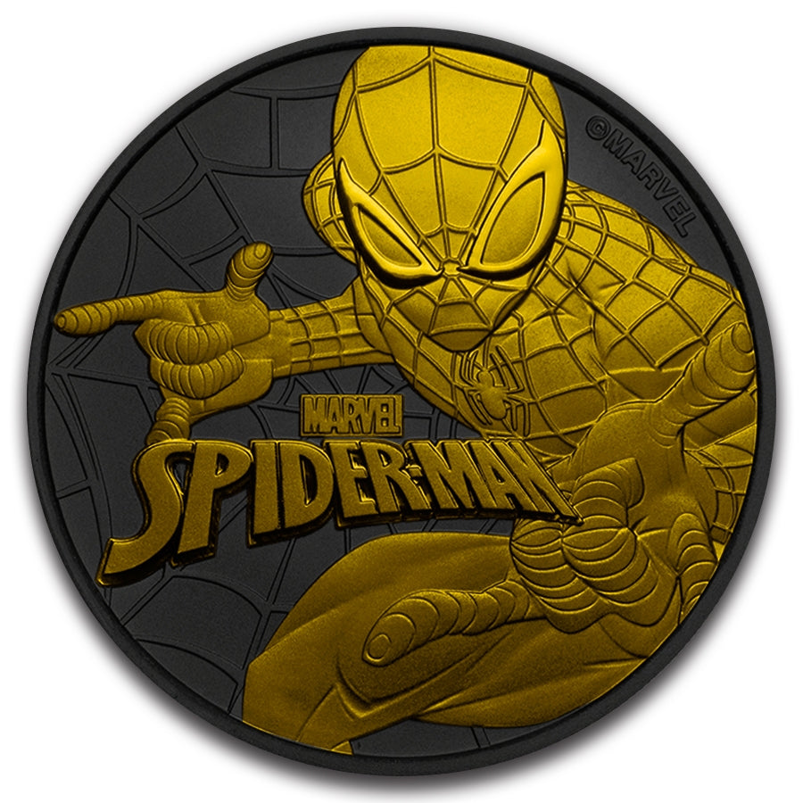 2017 Tuvalu 1 Ounce Spiderman Gold and Ruthenium Silver Coin - Art in Coins