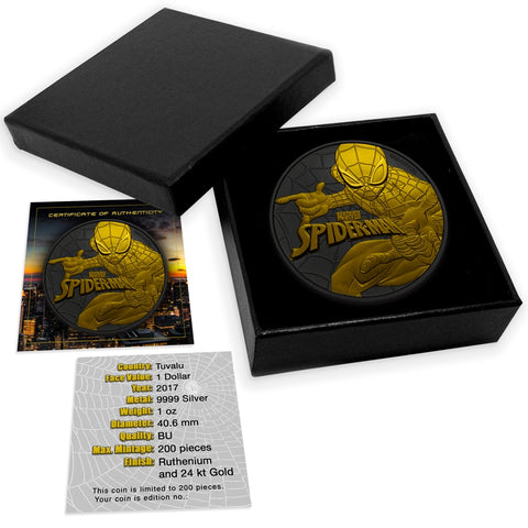 2017 Tuvalu 1 Ounce Spiderman Gold and Ruthenium Silver Coin Set - Art in Coins
