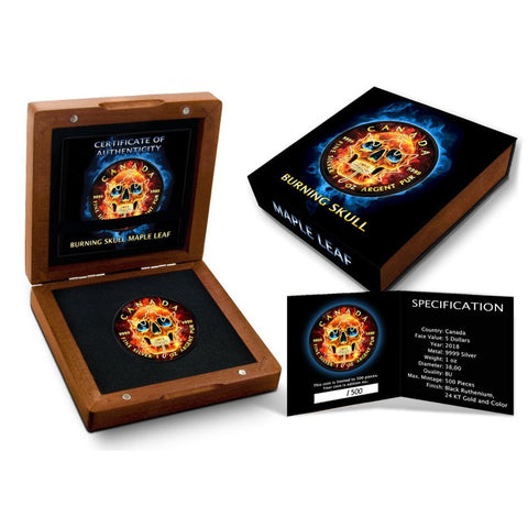 2018 RCM Burning Skull Colored .999 Silver Coin Set