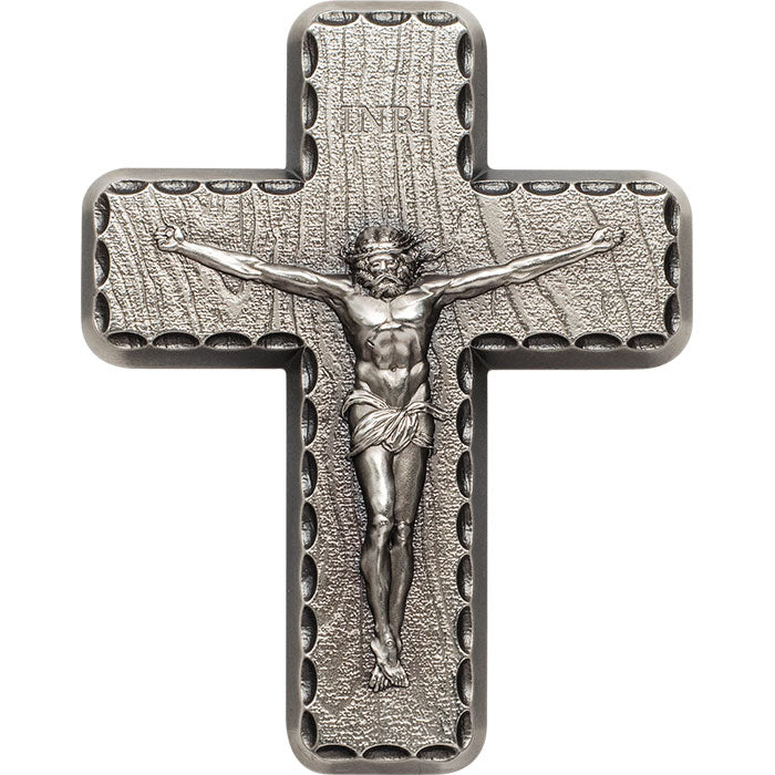 Crucifix 2oz .999 Silver Antique Finish High Relief Medal