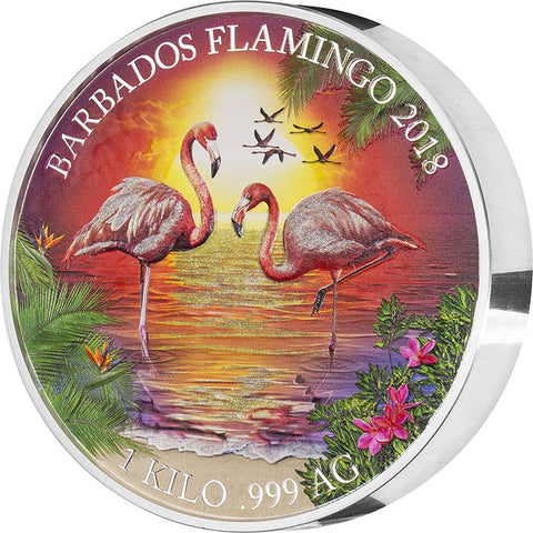 2018 Barbados 1 Kilogram Flamingos Colored Proof Like .999 Silver Coin Set